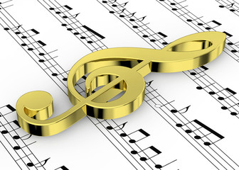 Treble Clef and note on Pentagram - 3D