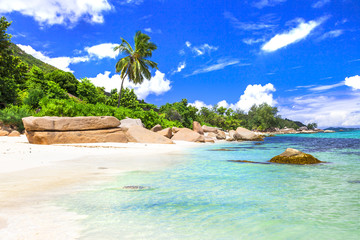 azure beaches of tropical islands. Seychelles