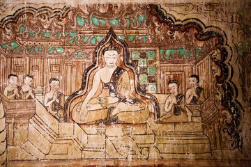 Ancient temple mural painting inside in Bagan, Myanmar