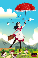 Woman holding an umbrella flying in the air