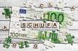 Leinwanddruck Bild - Geldscheinpuzzle - Schufa