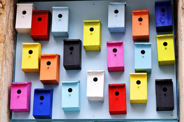 Colorful nesting boxes in Cardiff UK