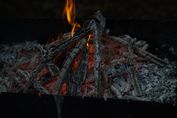 Beautiful coals after fire