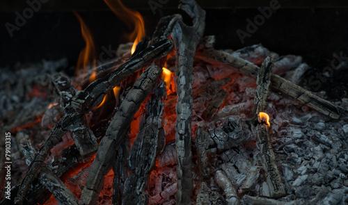 Beautiful coals after fire - 79103315