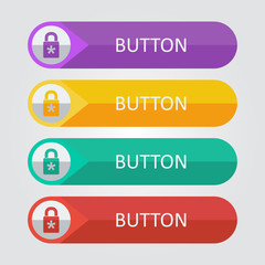 Vector flat buttons with lock icon