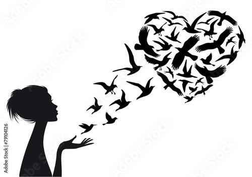 Naklejka Heart shaped flying birds, vector