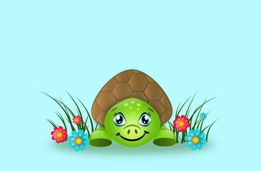 Cute turtle in grass