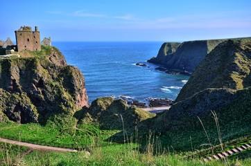 Ruins of Dunnottar Castle along the scenic coast of Scotland
