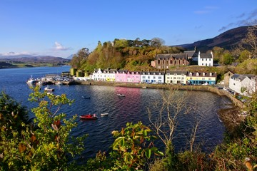 Early light on the town of Portree, Isle of Skye, Scotland