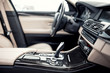 Leinwanddruck Bild - Modern beige and black interior of modern car