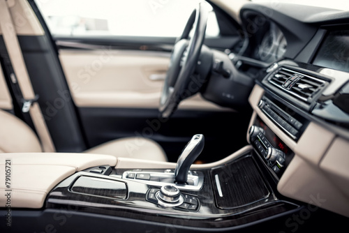 Modern beige and black interior of modern car