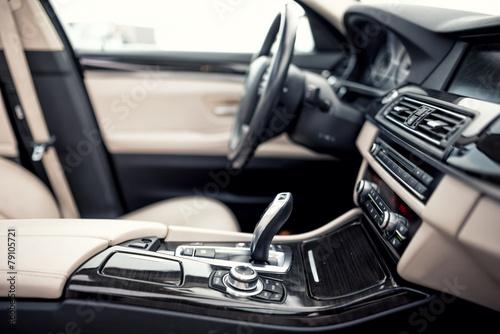 Leinwanddruck Bild Modern beige and black interior of modern car