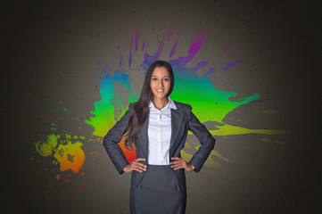 Office Girl on a Creative Color Mixture Background