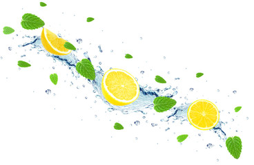 lemon and water splash