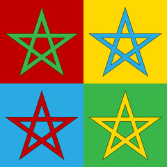 Pop art pentagram symbol icons.