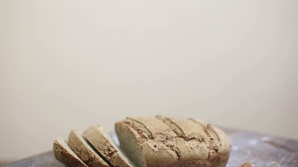 Freshly baked organic sourdough rye bread cut in pieces