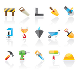 Construction industry and Tools  icons - vector icon set