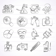 Ebola pandemic icons - vector icon set