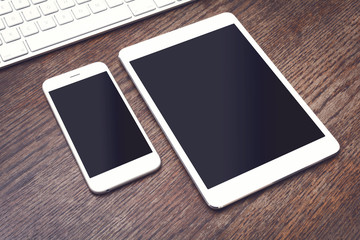 Tablet pc and smartphone mockup
