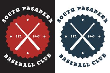 South Pasadena Baseball club emblem with crossed bats