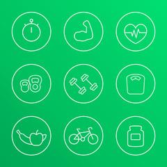 round white line fitness icons, vector illustration, eps10