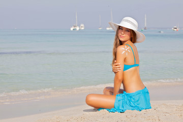 girl on vacation or holiday in Mallorca Spain.