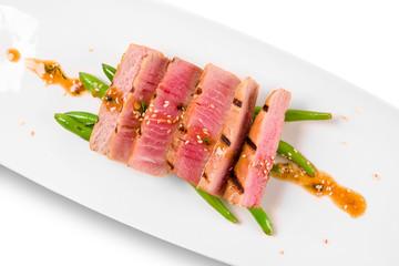 Tuna salad on a white plate