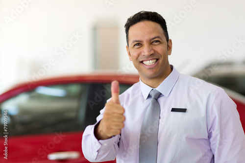 canvas print picture car salesman thumb up