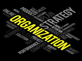 Organization word cloud, business concept