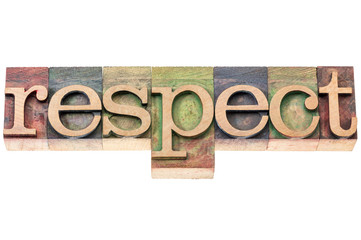 respect word typography in wood type
