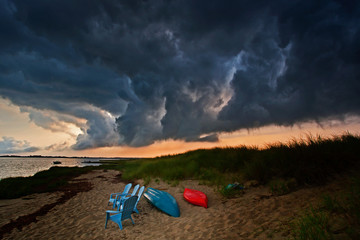 Storm Clouds Threaten Day at the Beach