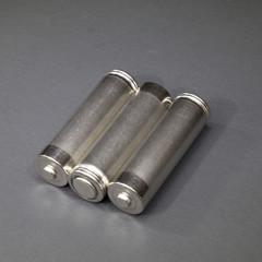 Three AA size metal batteries