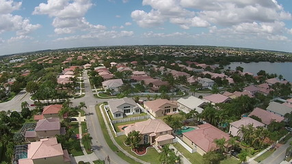 Middle class homes in Florida aerial view