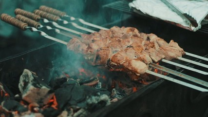 Kebabs are cooked on the grill
