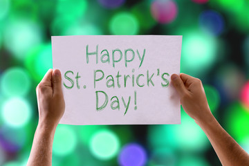 Happy St Patricks Day card with colorful background