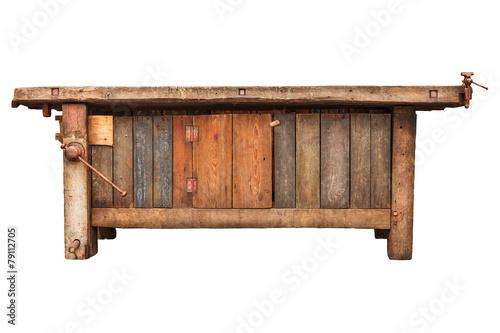 Leinwanddruck Bild Old work bench isolated on white