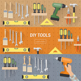 DIY tools banners set