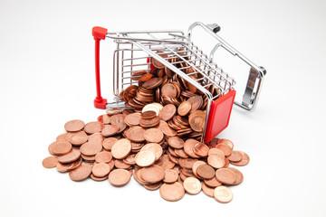 carro de compra con monedas