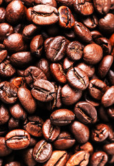 Roasted coffee beans, can be used as a background. Closeup, macr