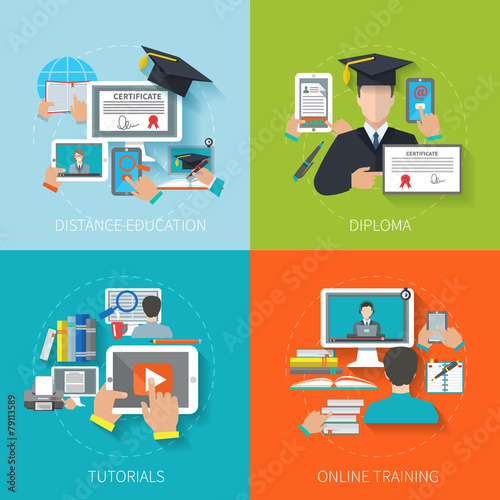 Online Education Flat - 79113589