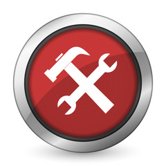 tools red icon service sign