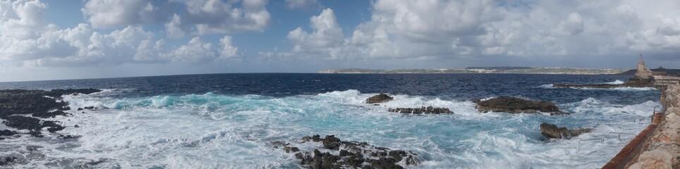 Panoramic seascape on a rocky coastline