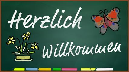 bkt110 BunteKreideTafel - Herzlich willkommen - 16zu9 g3329