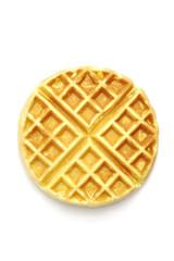 Round ruddy waffle isolated on white background
