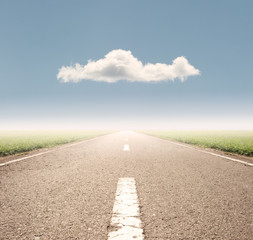asphalt road to the horizon