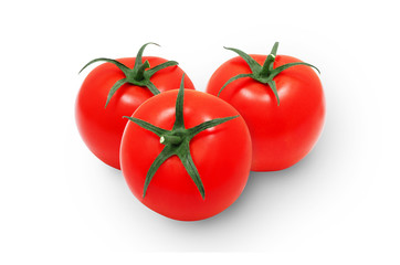 Tree fresh red tomatoes on isolated backround