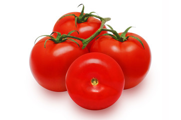 Four fresh red tomatoes on isolated backround