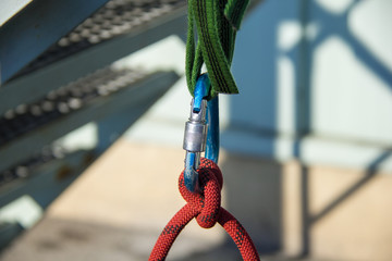 anchor point,carabiner between the ropes
