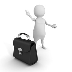 White 3d Man Welcome Gesture With Briefcase. Business Concept