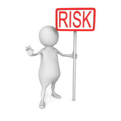 White 3d Man with Red RISK Word Banner